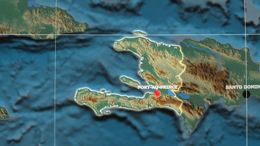 Zoom-in on Haiti outlined on the globe. Capital, administrative borders and graticule. Relief map