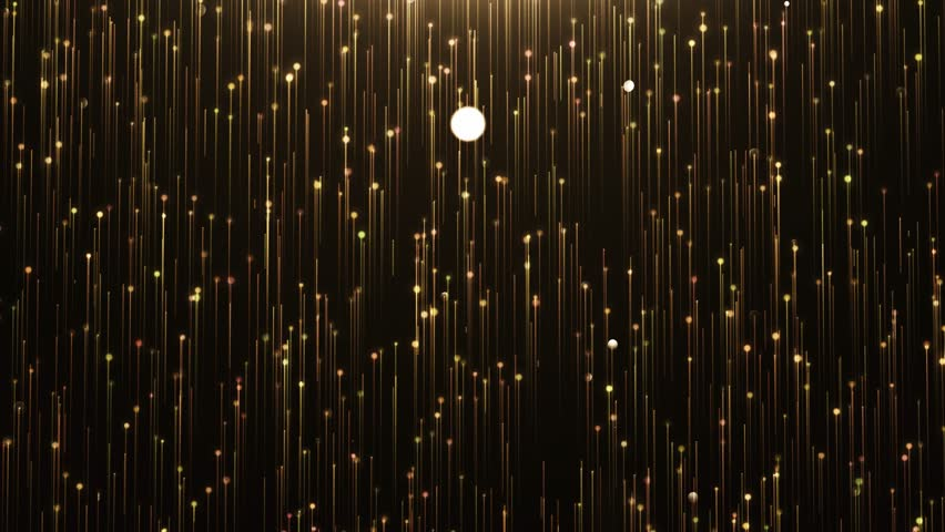 Glamorous gold shine Line and particles on a black background