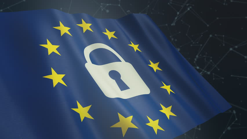 European union flag with a padlock and an abstract network system on background, concept of general data protection regulation (3d render) loop, alpha mask | Shutterstock HD Video #1010111441