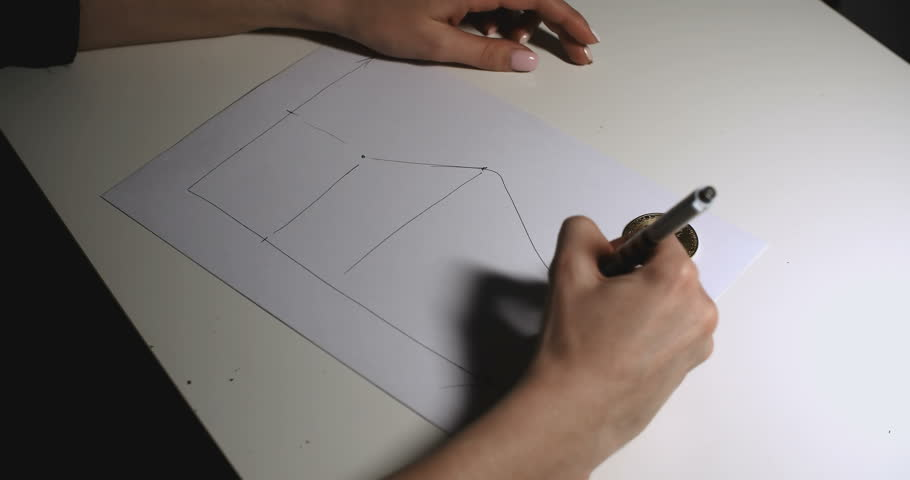 The Woman Are Using The Pencils And Drawing The Lines On The Paper Charts. Bitcoin Chart On Paper | Shutterstock HD Video #1010122331