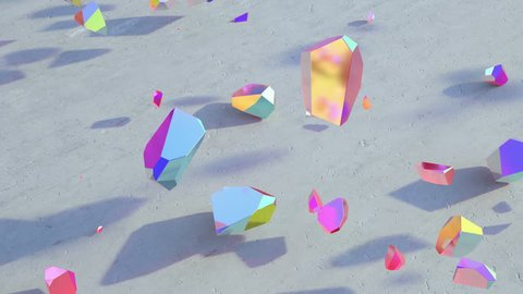 Trendy magic abstract holographic geometric crystals motion. Minimal quartz, stone, gems. Low poly rock animation background. Natural light.