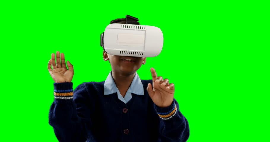 Schoolgirl using virtual reality headset against green screen 4k | Shutterstock HD Video #1010149961