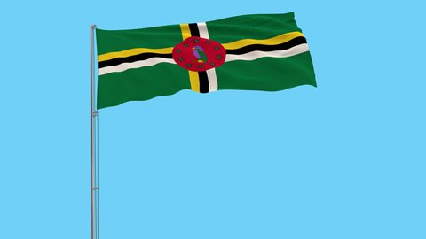 Isolate flag of Commonwealth of Dominica on a flagpole fluttering in the wind on a transparent background, 3d rendering, 4k prores footage, alpha transparency.