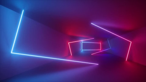 3d render, abstract background, fluorescent ultraviolet light, glowing neon lines rotating inside tunnel, blue red pink purple spectrum, rectangular frames spinning around, looped animation