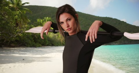 db94e4fa95 Young Woman in Wetsuit Holding Stock Footage Video (100% Royalty-free)  1010220041