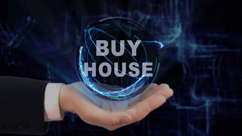 Painted hand shows concept hologram Buy house on his hand. Drawn man in business suit with future technology screen and modern cosmic background