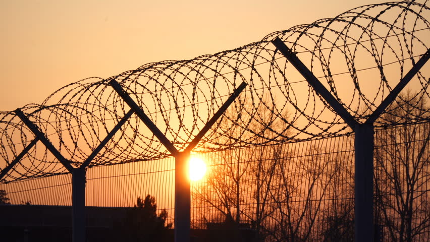 Prison Barbed Wire Fence At Stock Footage Video 100 Royalty Free