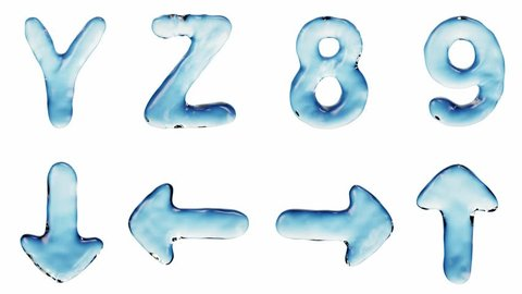 Alphabet from water isolated on a white background. The letter Y Z 8 9 arrow icon. 3d rendering 4K