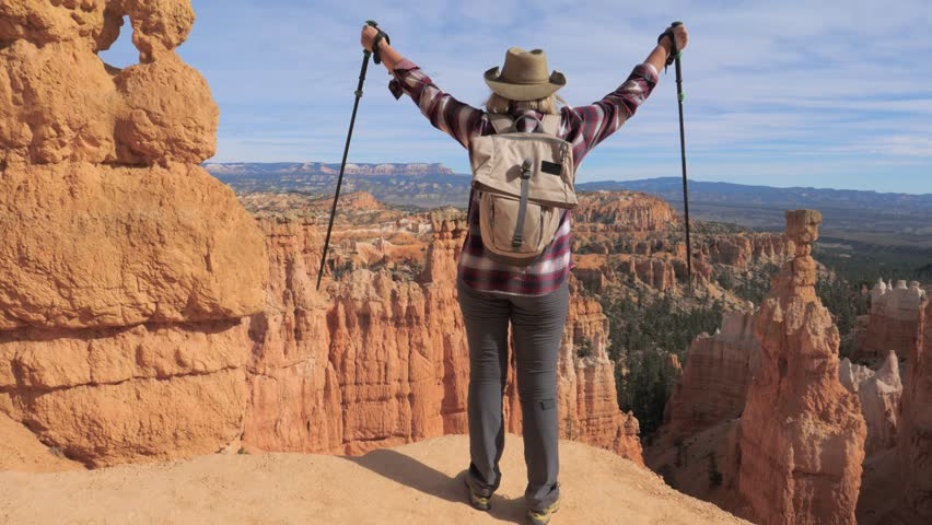 b426ffd540f Hiker blonde woman in a cowboy hat