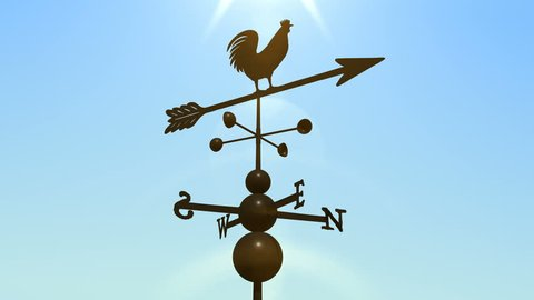 Weathervane cockerel floating under clear sky, loop