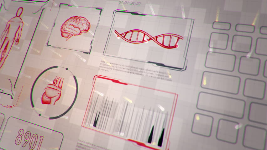 Background with animation of abstract interface. Walk human, head, hands, DNA spirals and heart in wireframe style and animation programming codes. Animation of seamless loop.
