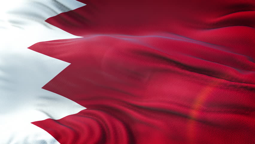 Flag of Bahrain waving on sun. Seamless loop with highly detailed fabric texture. Loop ready in 4k resolution.