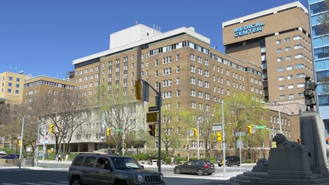 Generic medical center or hospital exterior. Can be used as establishing shot.
