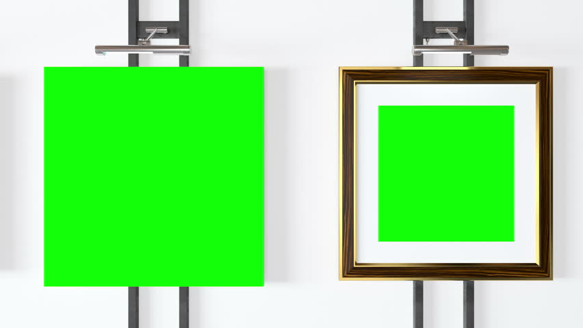 Empty picture frames with track green screen and a spotlight lamps - Seamlessly looping