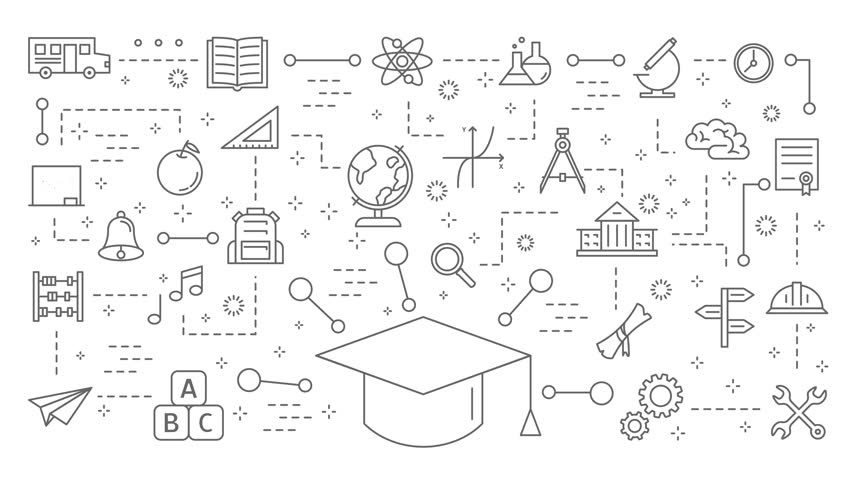 Educatrion icons set. Linear illustrations on white. | Shutterstock HD Video #1010443871