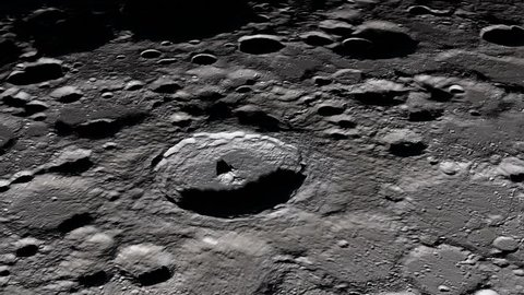 Camera flies around a craters in the Moon. Elements of this image furnished by NASA's Scientific Visualization Studio.
