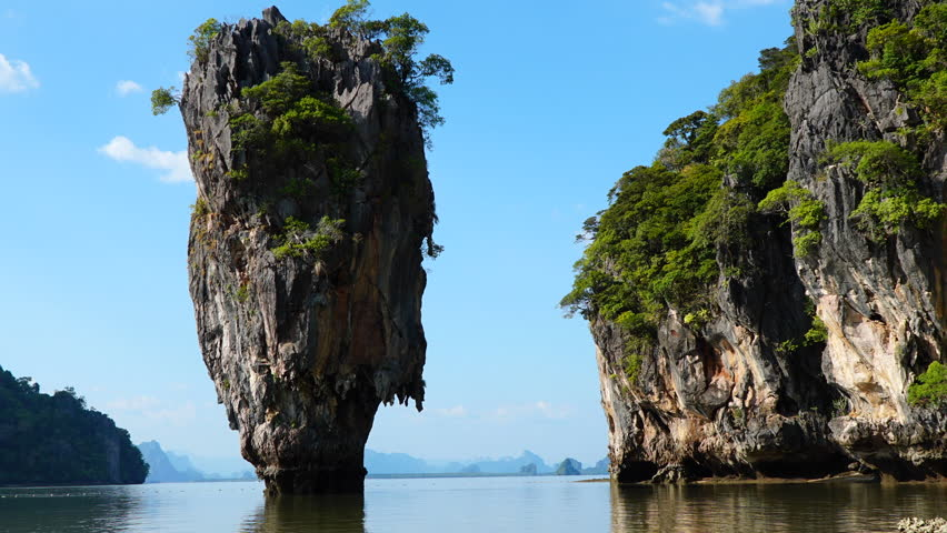 James bond island, Phang-nga bay, Perfect zoom frame of Time Lapse, Thailand nature. Asia travel photography of James Bond island in Phang Nga bay. Thai scenic exotic landscape of tourist destination.