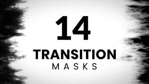 14 transition mask templates. Grunge texture for creative slideshow.