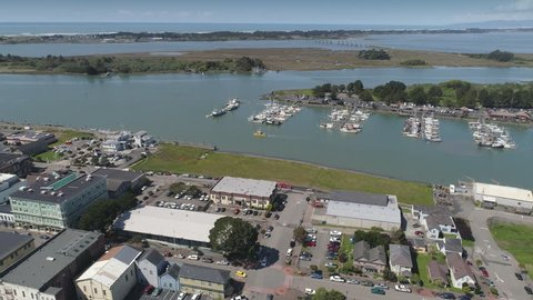 Aerial: flying over the town of, Eureka, Humboldt country, USA
