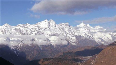 Magnificent panorama of Solu Khumbu valley, treking area to the base camp of Everest peak (8848 m). Nepal, Himalaya mountains.
