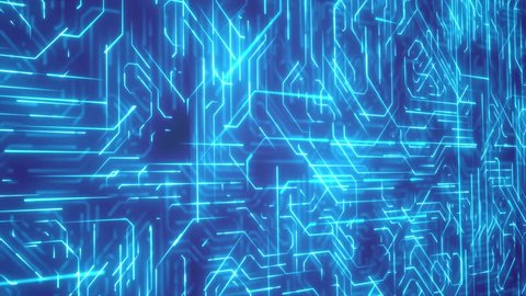 Seamless looping 3d animated blue light circuit board animation
