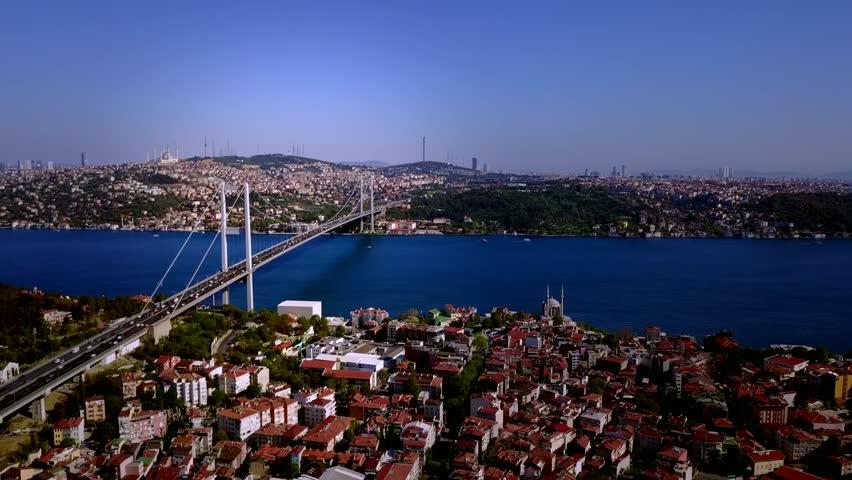 Istanbul Bosphorus, Turkey , aerial Moving towards Bosphorus Bridge (15 July Martyrs Bridge) and Ortakoy mosque, flying over Ortakoy neighbourhood, traffic passing by the bridge, view of Uskudar