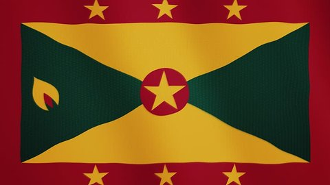 Grenada flag waving animation. Full Screen. Symbol of the country.