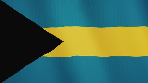 Bahamas flag waving animation. Full Screen. Symbol of the country.