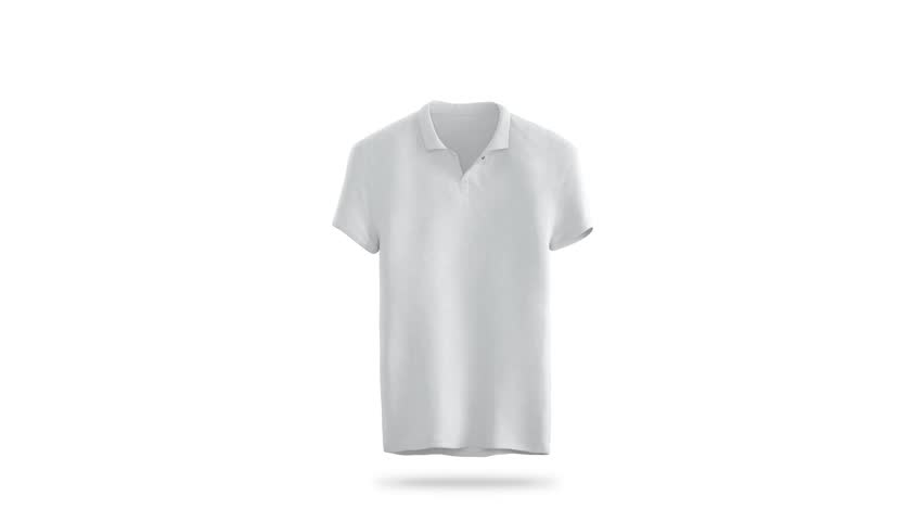 Blank white polo shirt constant rotation mock up, clipping mask, isolated. Rotation tshirt around, 3d rendering. Empty sport t-shirt clothing