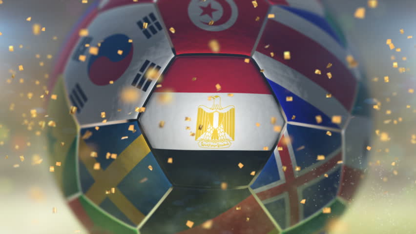 Football Soccer ball fly towards camera with particles Countries nations flags are showing Stadium with flashing lights Golden confetti fly in the air | Shutterstock HD Video #1010558021