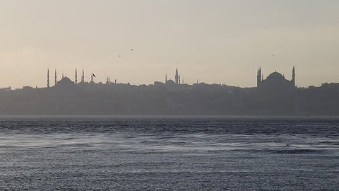 The main sights of Istanbul - Hagia Sophia and Blue Mosque. View from the Sea of Marmara