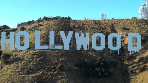 Los Angeles, California, USA - April 25, 2018: Aerial Hyperlapse of Hollywood Sign
