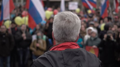 RUSSIA, NOVOSIBIRSK - MAY 5, 2018: Rally organized by Navalny in May 2018 in Novosibirsk Russian Federation. Digital resistance. Down with the king.