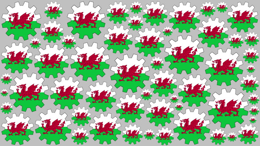 Welsh flag gears rotating background