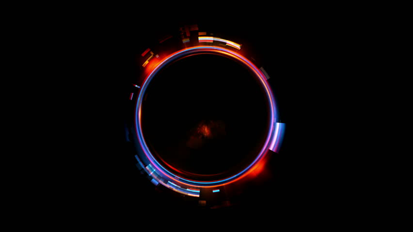 Abstract neon background. Shine ring. Halo around. Sparks particle.  Space tunnel. LED color ellipse. Glint glitter. Shimmer loop motion.  Empty hole. Glow portal. Astral ball. Slow spin. Bright disc. | Shutterstock HD Video #1010674301