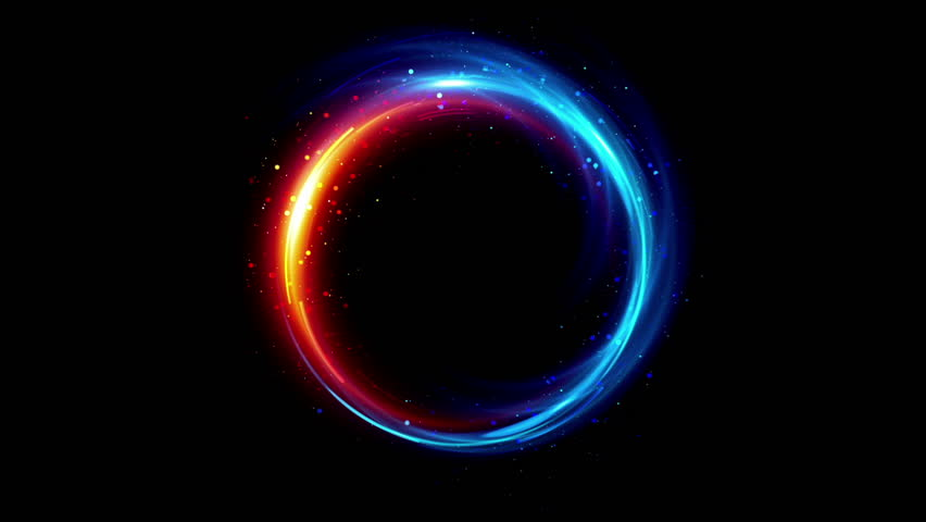 Abstract neon background. Shine ring. Halo around. Sparks particle.  Space tunnel. LED color ellipse. Glint glitter. Shimmer loop motion.  Empty hole. Glow portal. Blue ball. Slow spin. Bright disc.  | Shutterstock HD Video #1010674421