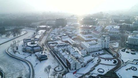 Arial footage of Minsk city in the winter morning. Belarus. Minsk. 2018.