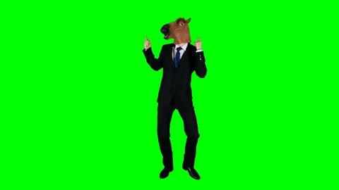 Hilarious Businessman Dancing Ridiculous Fooling Around Horse Mask Green Screen