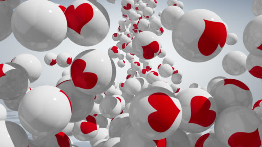 Falling balls with LOVE icons on white background. | Shutterstock HD Video #1010765141