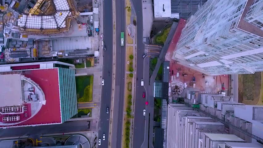 MEXICO CITY - February 22, 2018: Overflight of the huge departmental and business buildings of Santa Fe Avenue
