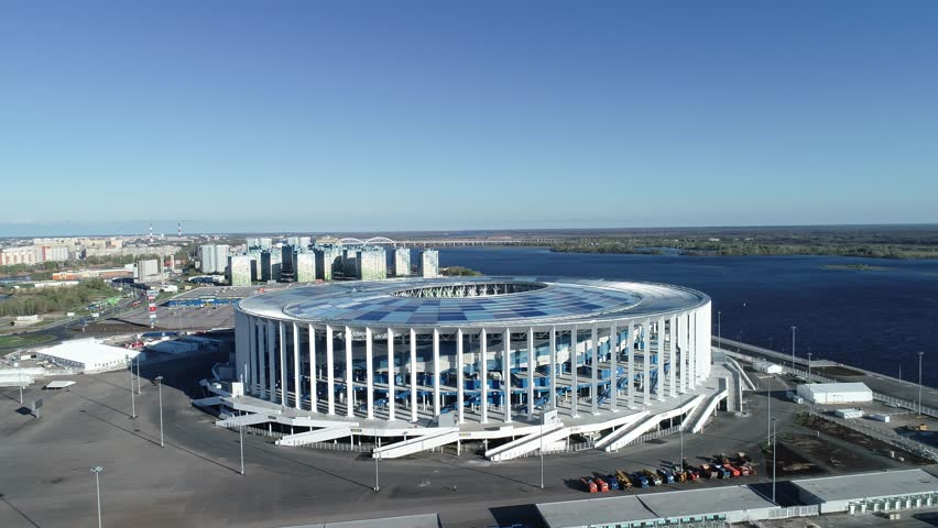 RUSSIA, Nizhny Novogorod - May, 2018: View of Nizhny Novogorod Stadium, building for the 2018 FIFA World Cup in Russia, from dron | Shutterstock HD Video #1010827631