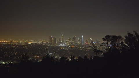 Los Angeles cityscape, skyline at night. View from Griffith park - August 2017: Los Angeles California, US