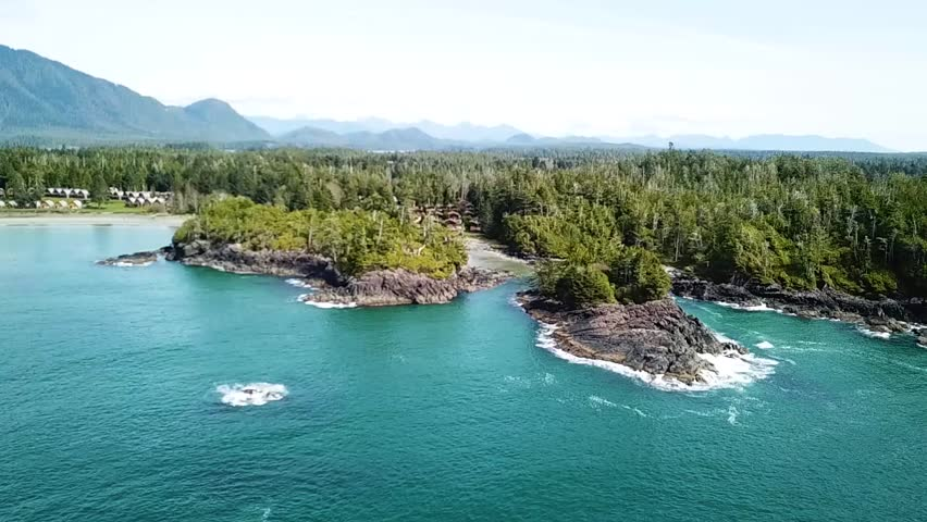 Beautiful aerial view into Crystal Cove near Tofino and Long Beach on Vancouver Island in beautiful British Columbia