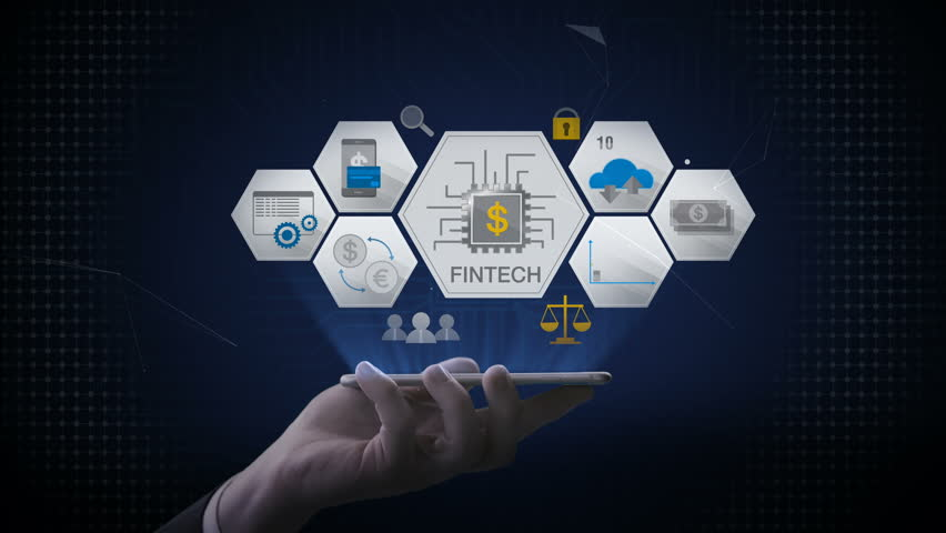 lifting a smart phone, mobile, Fin-tech icon and various graph. Futuristic financial technology. 4k movie. version 2.