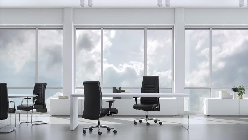 4k00 18view From Window In Business Office In Skyskraper On Cloudy