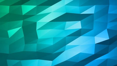 Loopable Abstract Green Blue Low Poly 3D surface as CG background. Soft Polygonal Geometric Low Poly motion background of shifting Red Orange polygons. 4K Fullhd seamless loop background render V68