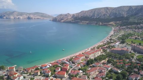 Baska, Krk Island, Croatia, panning from the air