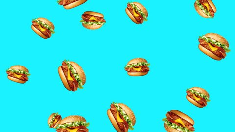 Abstract colorful animation - burger color background. Burgers rotating and falling down - seamless loop.