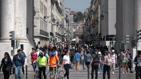 City of Lisbon Famous Augusta Street. LISBON, PORTUGAL - 25 APRIL 2018; Crowd of people walking at famous Augusta street in downtown Lisbon, Portugal.