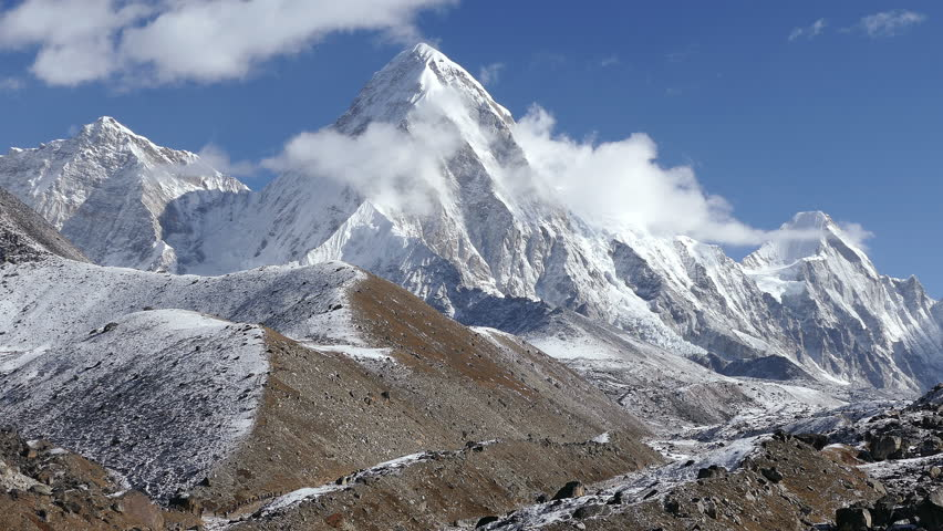 Activity, recreation: a group of tourists has a trekking towards the base camp of Everest peak (8848 m). Time lapse.